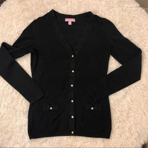 Lilly Pulitzer Black Pearl Button Down Cardigan S